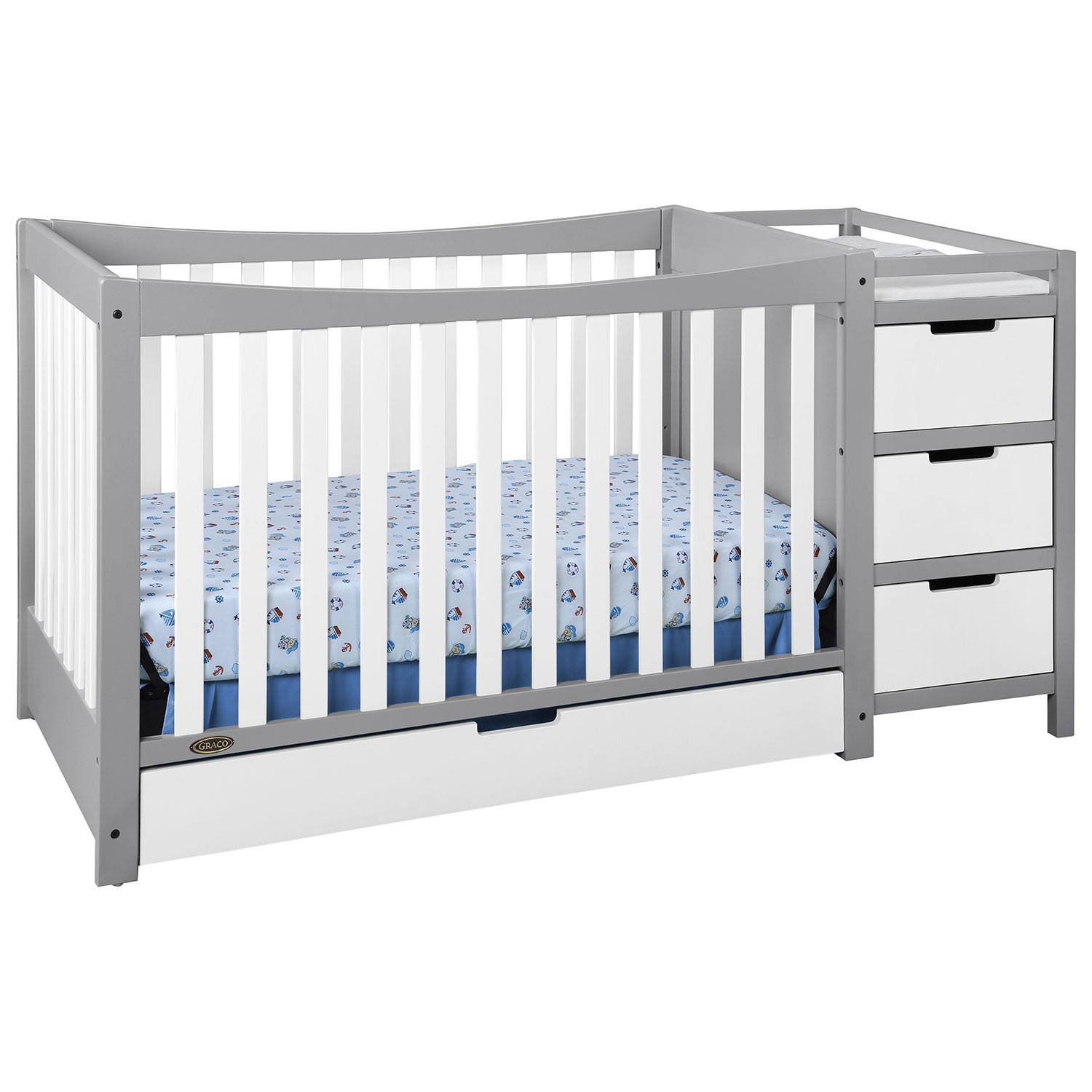 Baby cribs regulations canada - Graco Remi 4in1 Convertible Crib And Changer Whitepebble Grey Baby Cribs Best Buy Canada