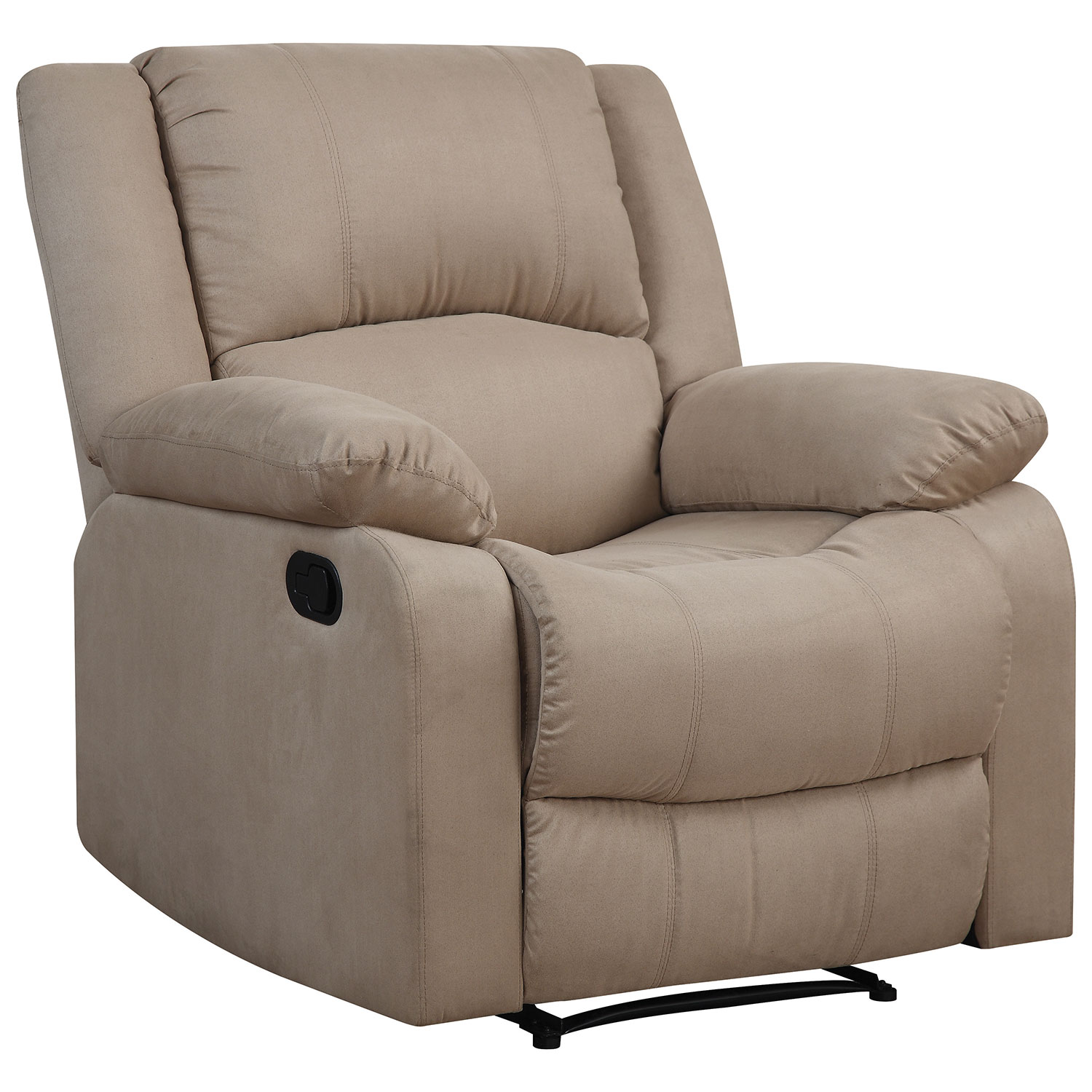 Warren Contemporary Micro Suede Recliner Chair Beige Recliners