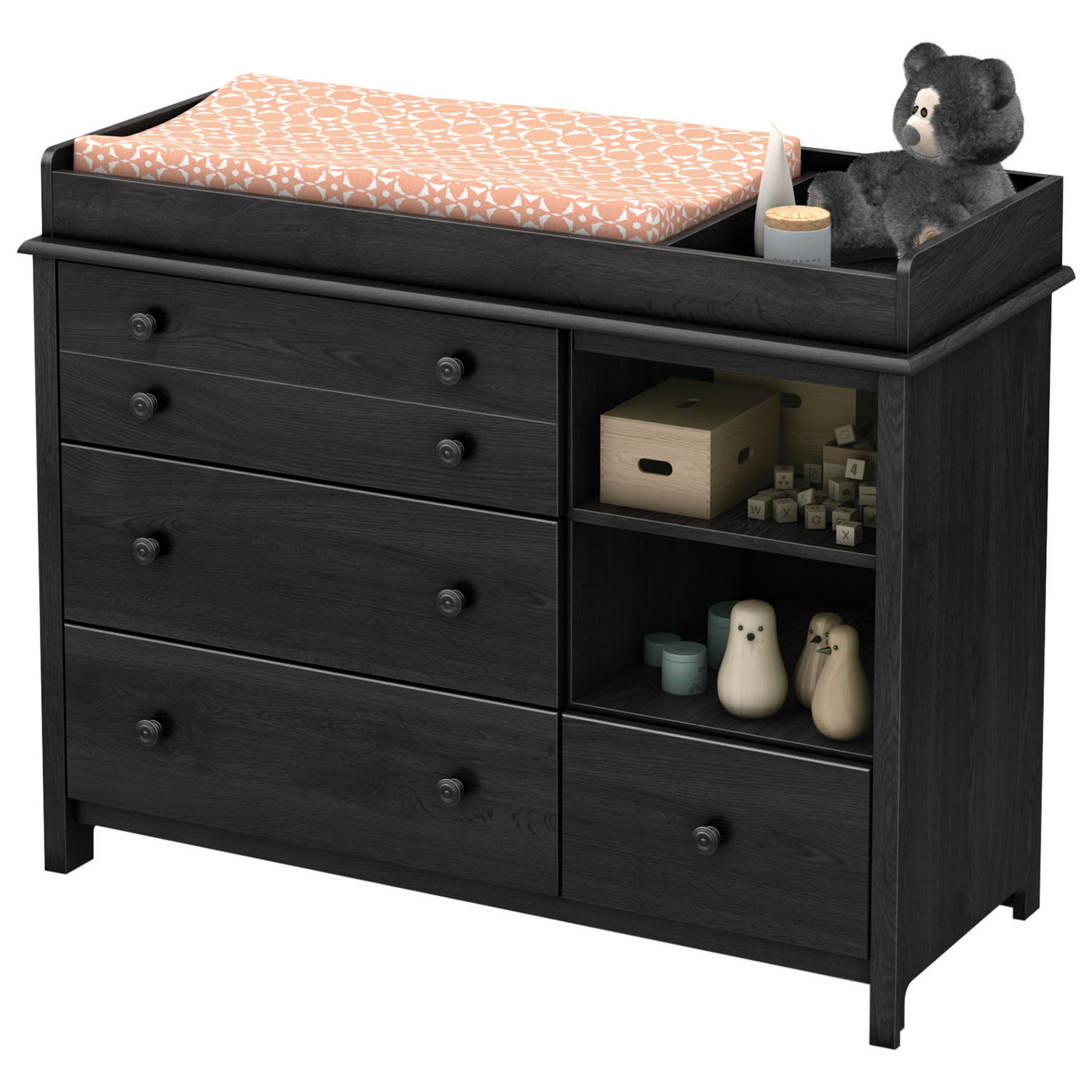 south shore little smileys changing table with removable changing  - south shore little smileys changing table with removable changing station gray oak  change tables  best buy canada