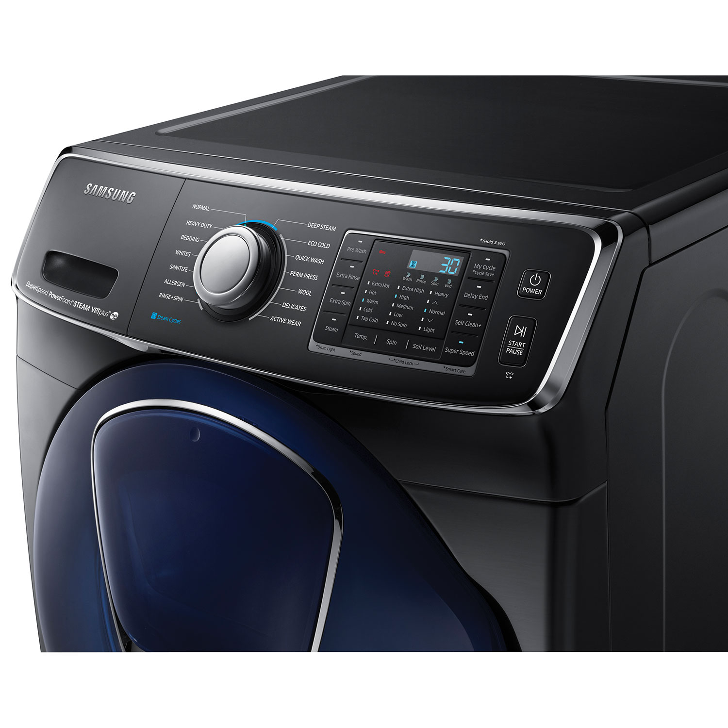samsung 58 cu ft high efficiency front load steam washer wf50k7500av black stainless washers best buy canada