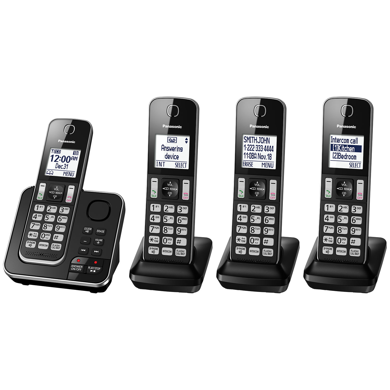Panasonic 4-Handset DECT Cordless Phone with Answering Machine (KXTGD394B) 1e0ec7015c