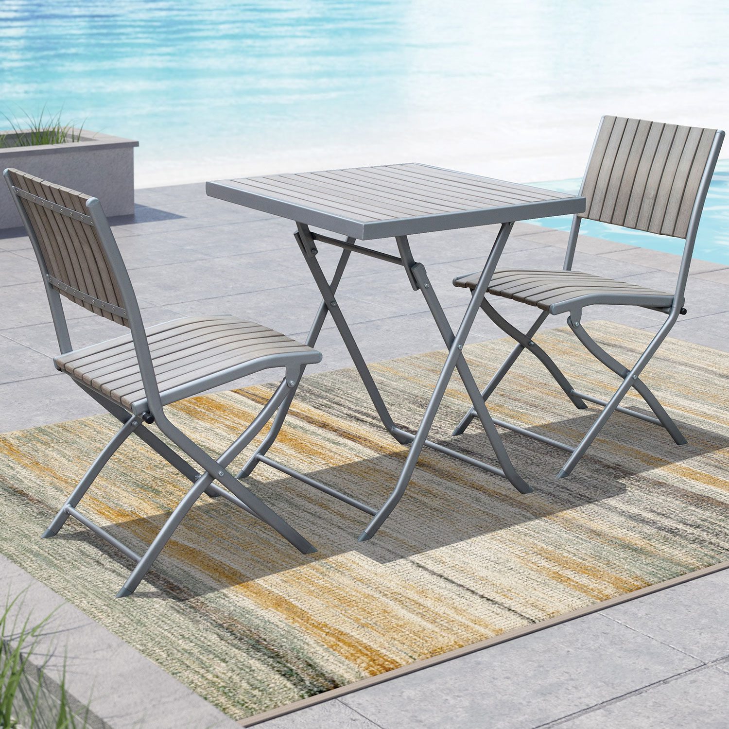 Gallant contemporary 3 piece folding bistro set sun bleached grey online only