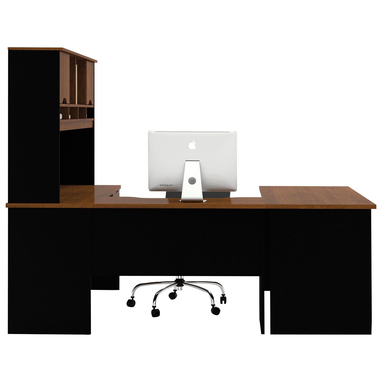 innova ushaped desk with hutch tuscany brownblack desks u0026 best buy canada