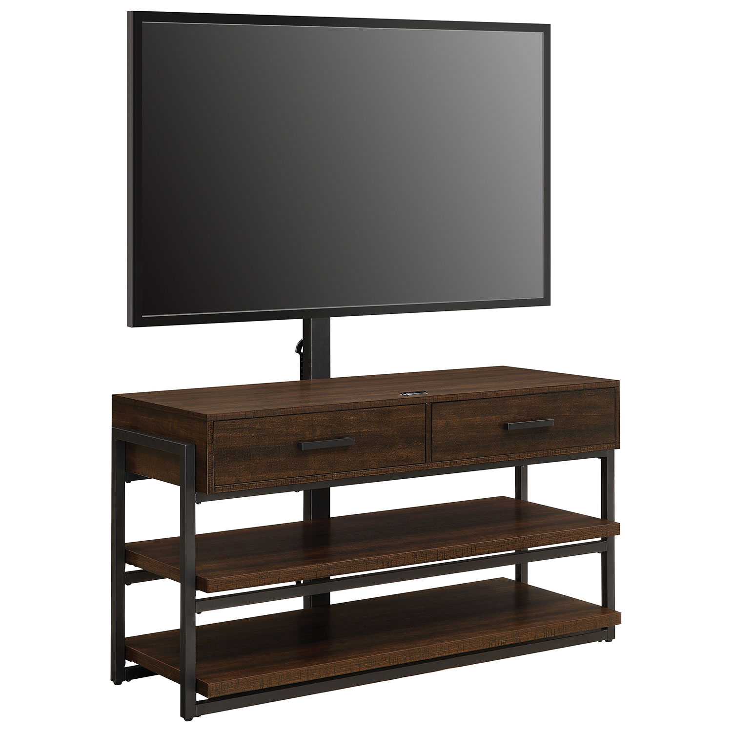 "Whalen 3 in 1 TV Stand for TVs up to 60"" Dark Brown Gunmetal TV"