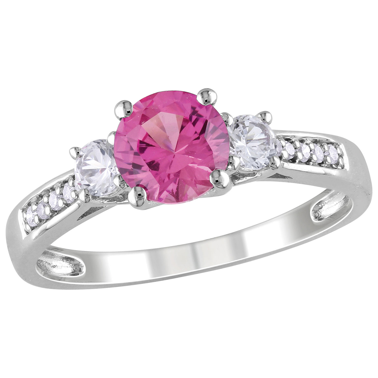 Bridal 3-Stone Ring in White Gold with Created Pink Sapphire & 0.048 ...