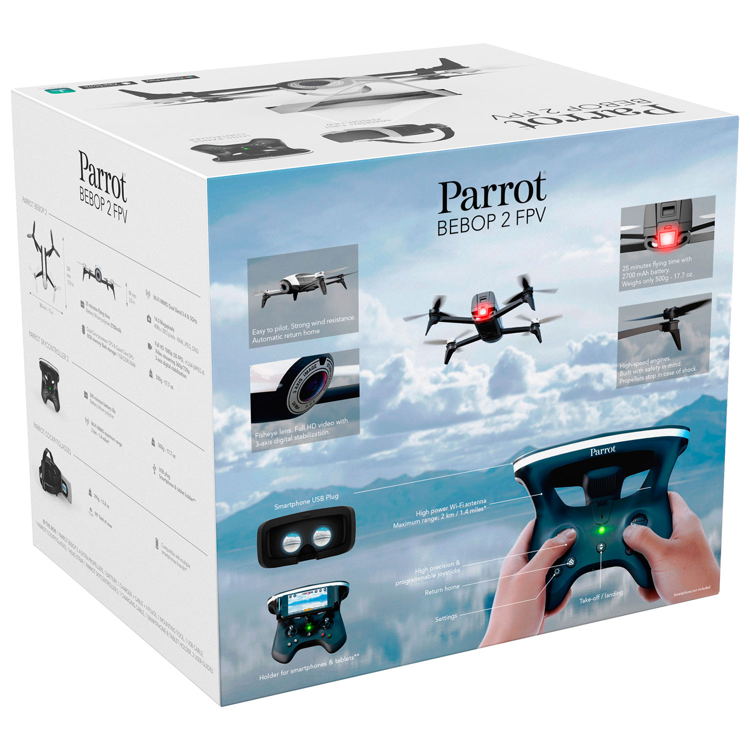 Parrot Bebop 2 Quadcopter Drone With Camera Fpv Controller Way Video Switch Ready To Fly Black White Drones Best Buy Canada