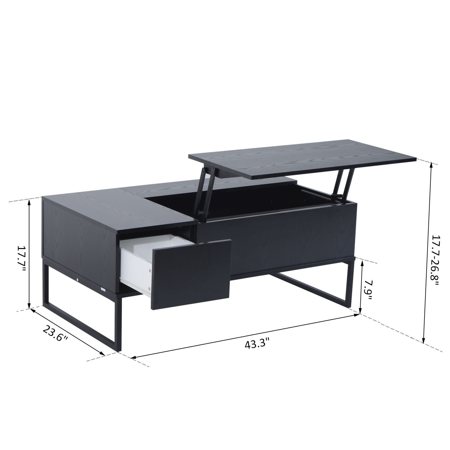 homcom lift top coffee table convertible tea desk furniture wood  - homcom lift top coffee table convertible tea desk furniture wood storagefoldable with tray black  coffee tables  best buy canada