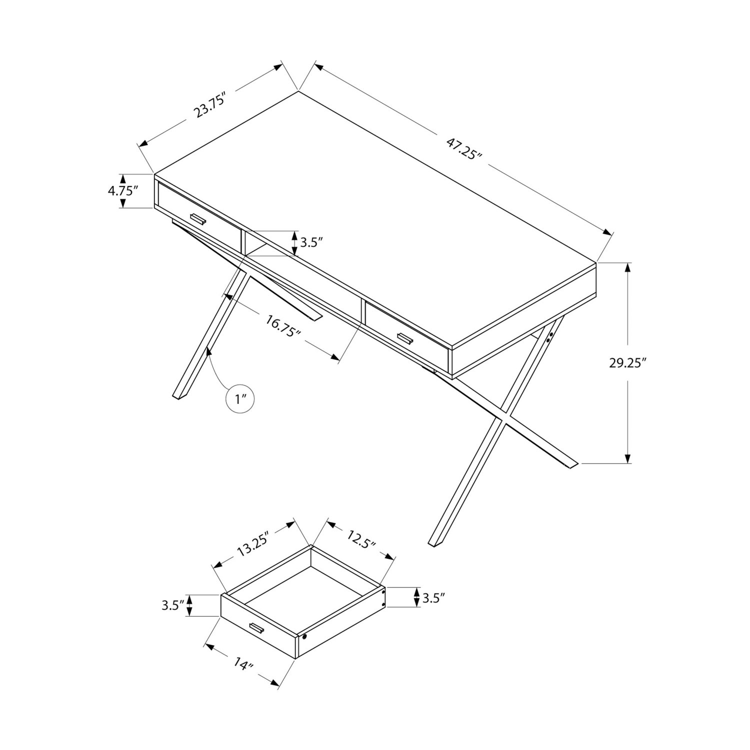Contemporary Computer Desk Glossy White Desks Workstations Bose Lifestyle 5 Wiring Diagram Best Buy Canada