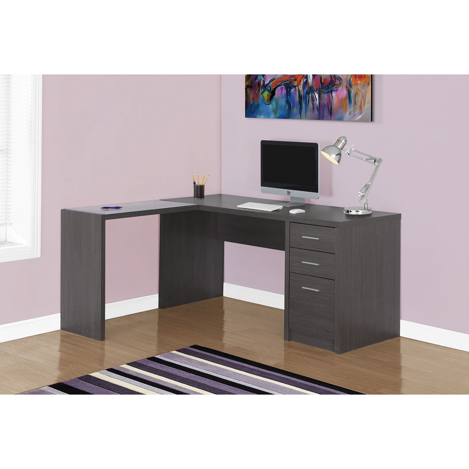 monarch taupe info shelving adjustable white corner iblogaholic with specialties dark in desk
