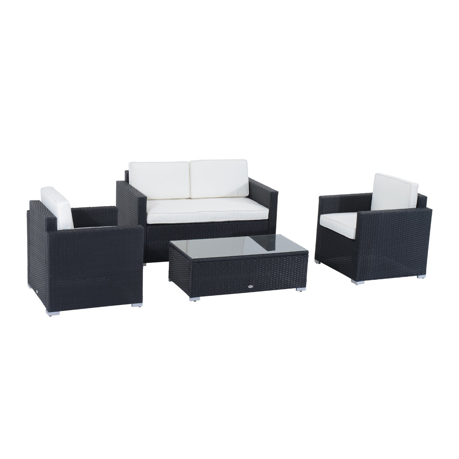 Outsunny 4pcs rattan furniture set with cushion black online only