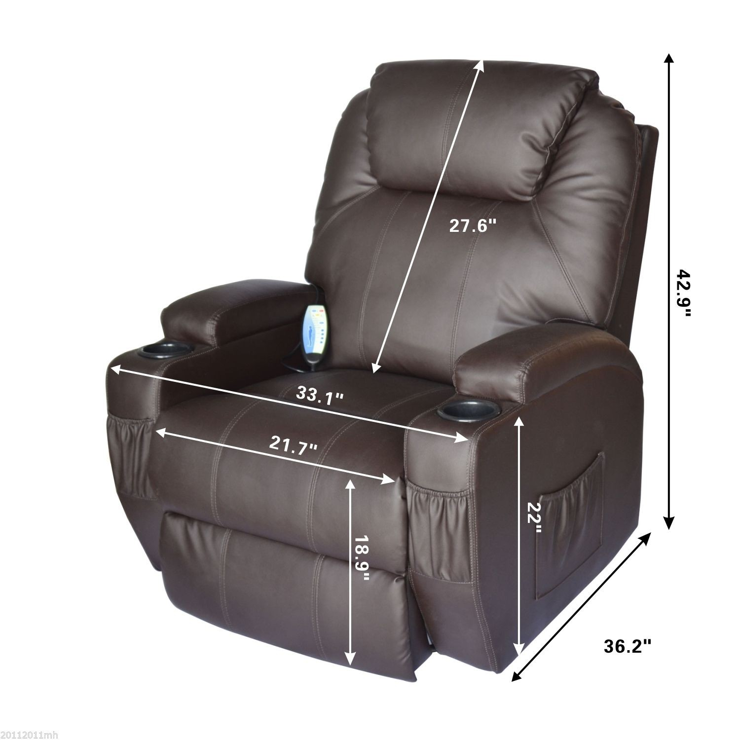 HOM Luxury Leather Massage Sofa Adjustable Recliner Chair