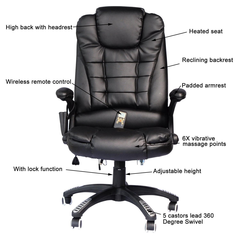 HOM Heated Massage Executive fice Chair High Back Swivel