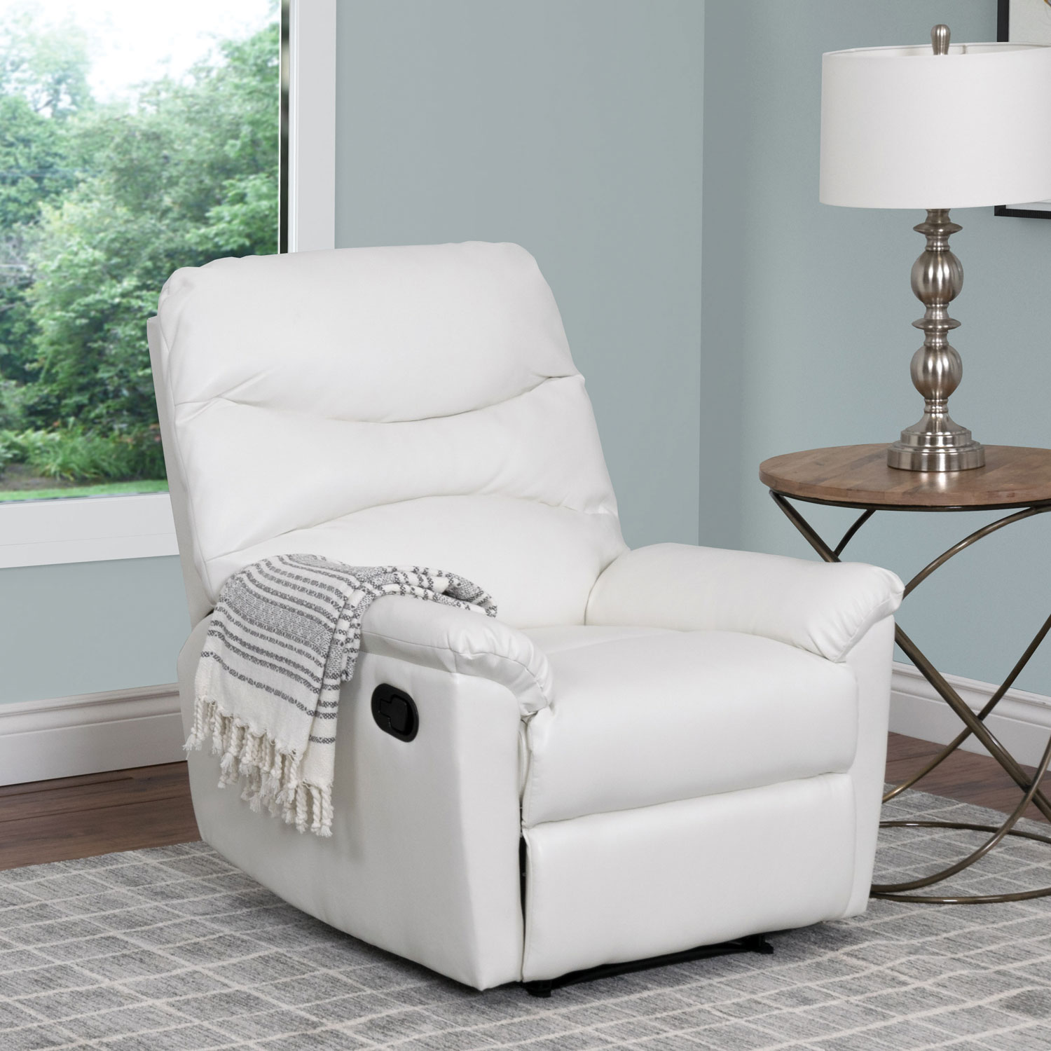 luke contemporary bonded leather recliner  white  recliners  - luke contemporary bonded leather recliner  white  recliners  best buycanada
