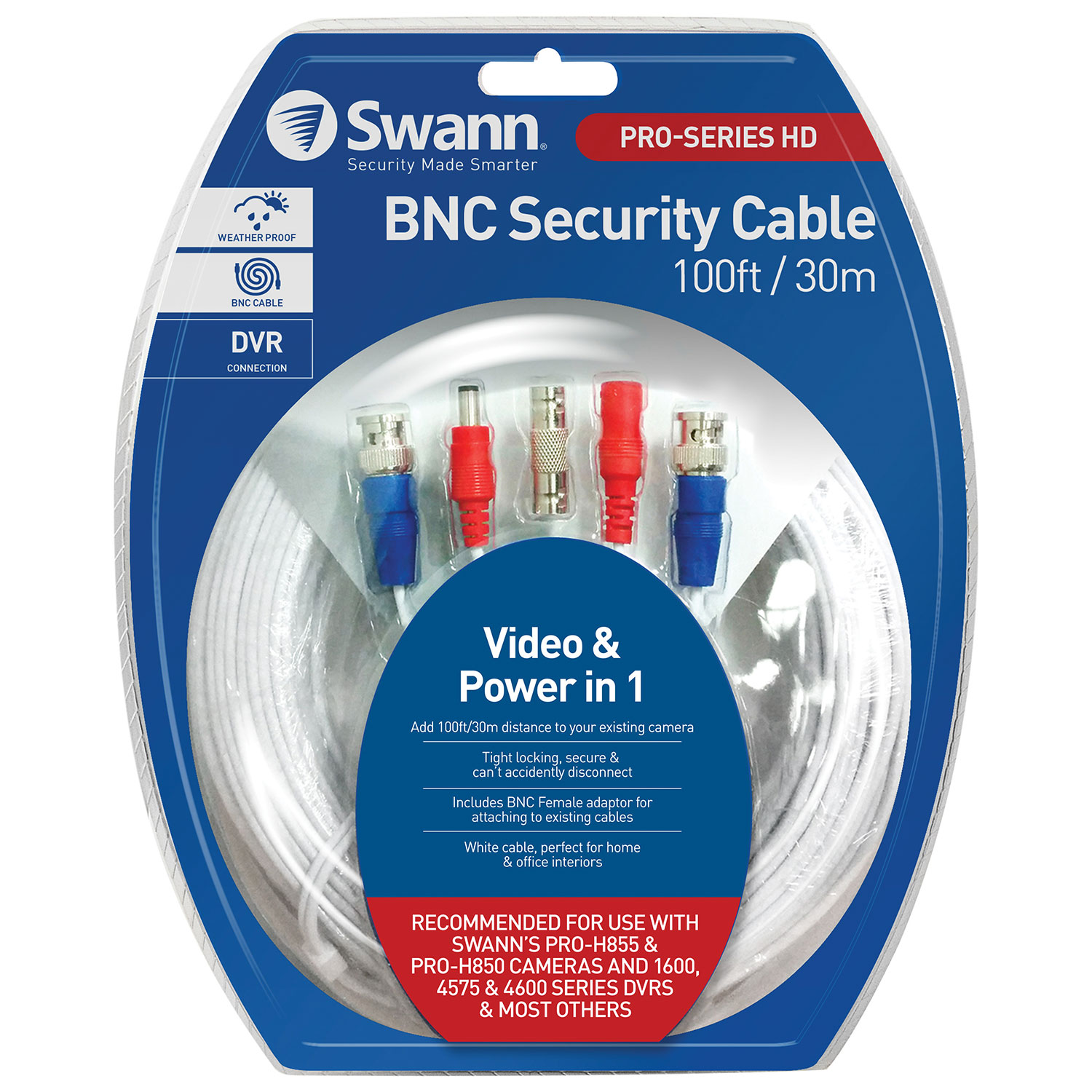 Swann 30m (100 ft.) Fire Rated BNC Cable (SWPRO-30MTVF-CA ...