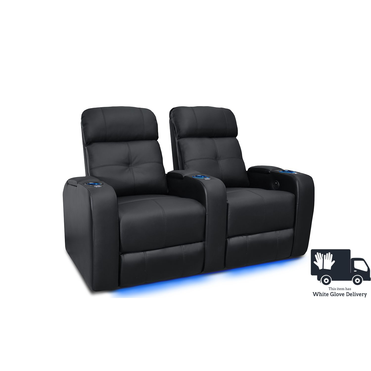 Valencia Verona Black Top Grain Leather Home Theatre Power Recliner