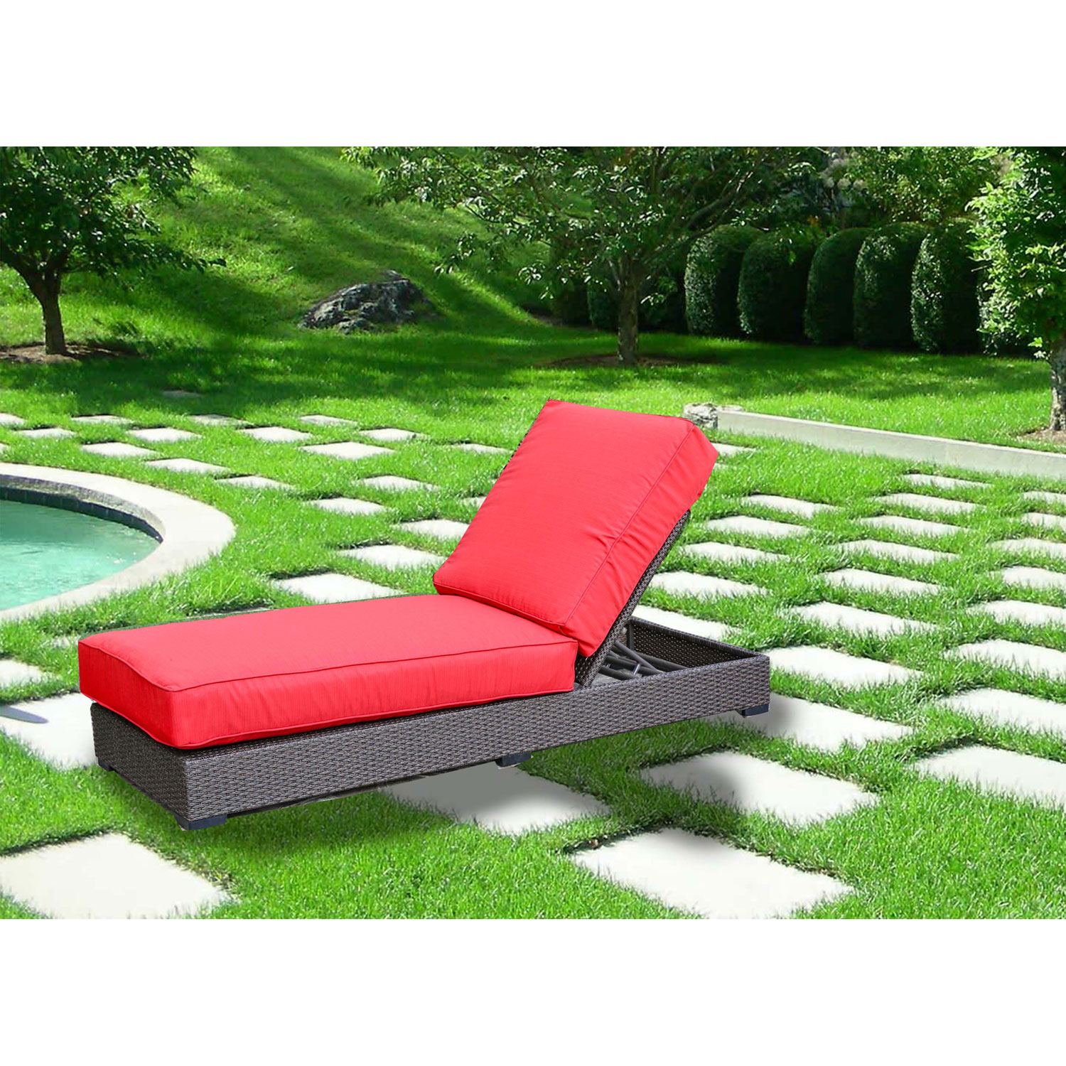 Tropea Chaise Patio Lounge Chair Candy Red Buckeye Brown ly