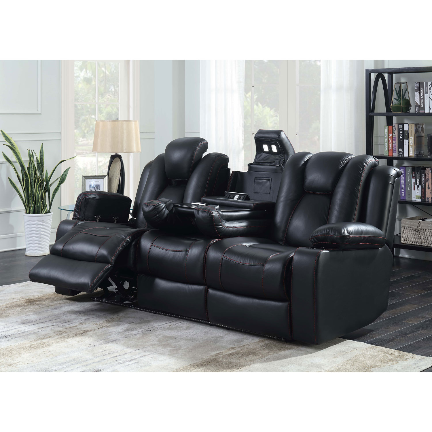 Starship 3 Seat Leather Power Recliner Home Theatre Seating with Console    Black. Home Theatre Seating   Sofas   Sectionals   Best Buy Canada