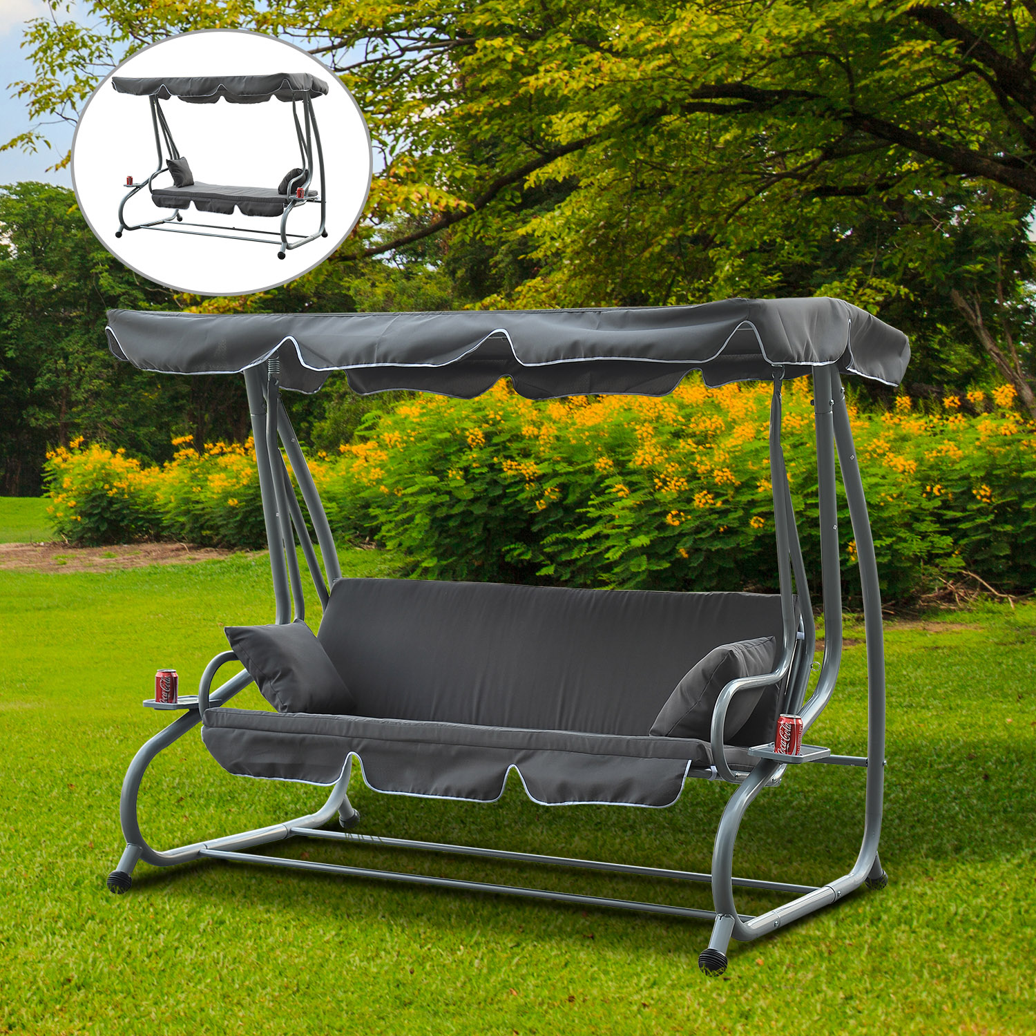 Outsunny Heavy Duty 3 Seater Covered Outdoor Swing Chair Garden