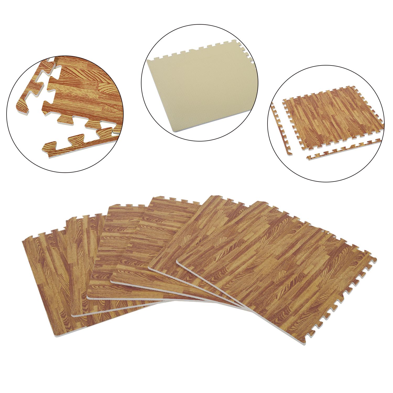 HomCom Soft Wood Grain Foam Interlocking Floor Mats 72 Square Feet 18pcs