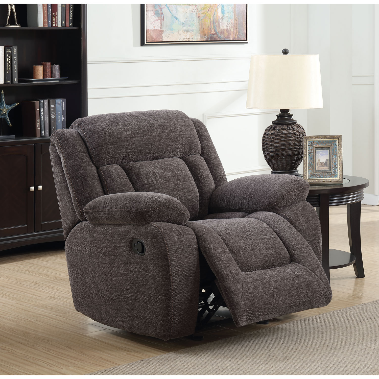 Geneva Contemporary Corduroy Recliner Chair Charcoal Recliners