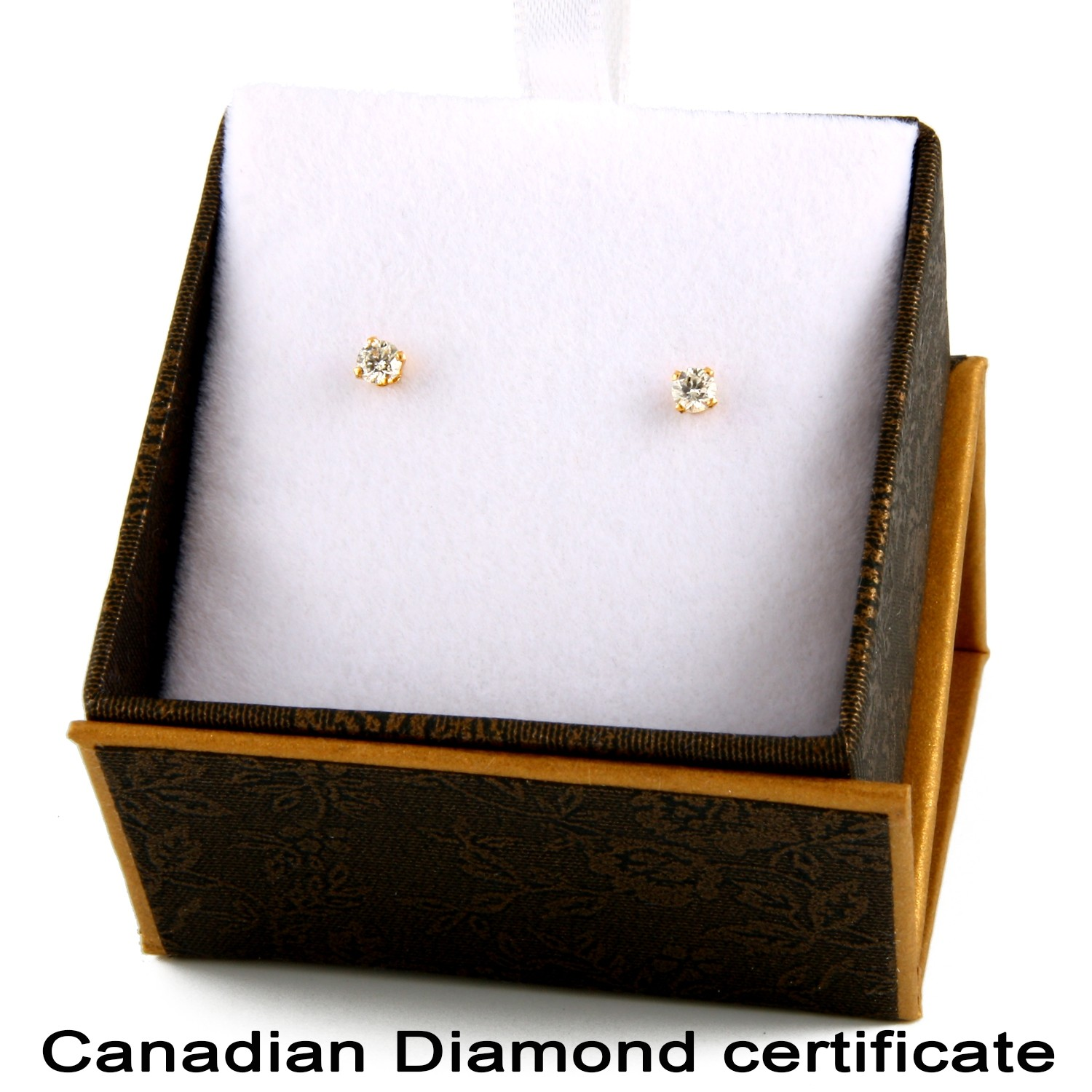 14k Yellow Gold Earrings With 20ct Canadian Certified Diamonds Cde