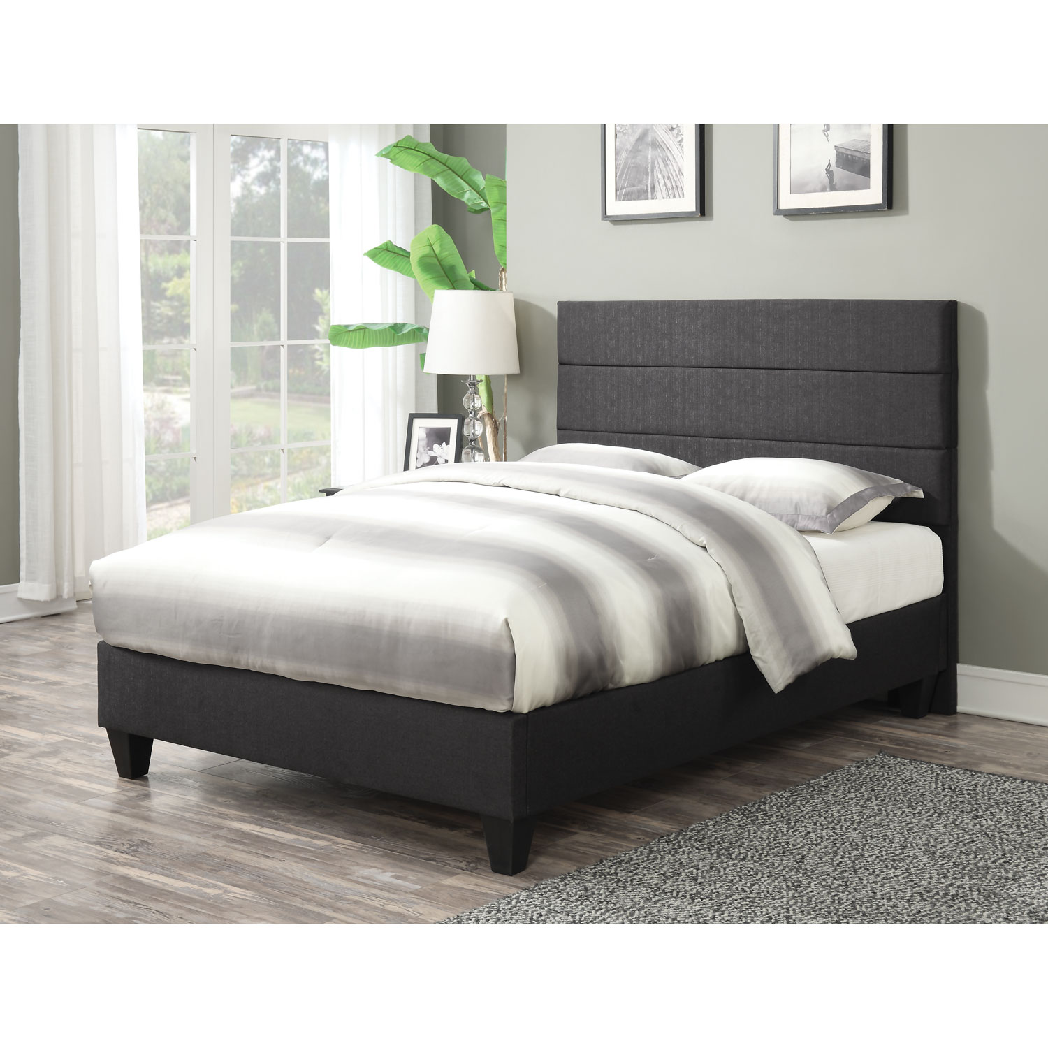 Tate contemporary upholstered platform bed queen night online only