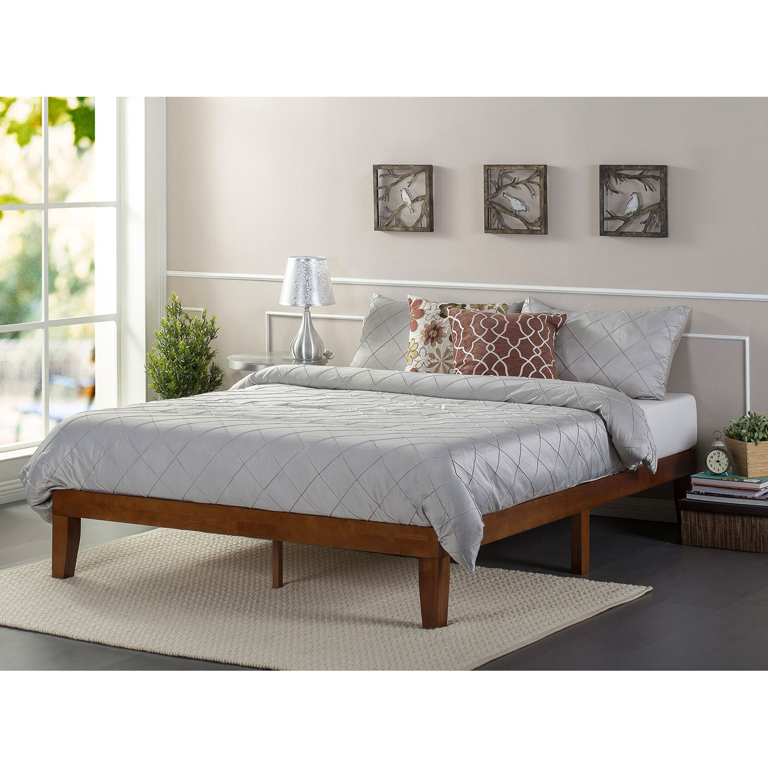 Picture of: Zinus Solid Wood Contemporary Platform Bed Queen Cherry Best Buy Canada
