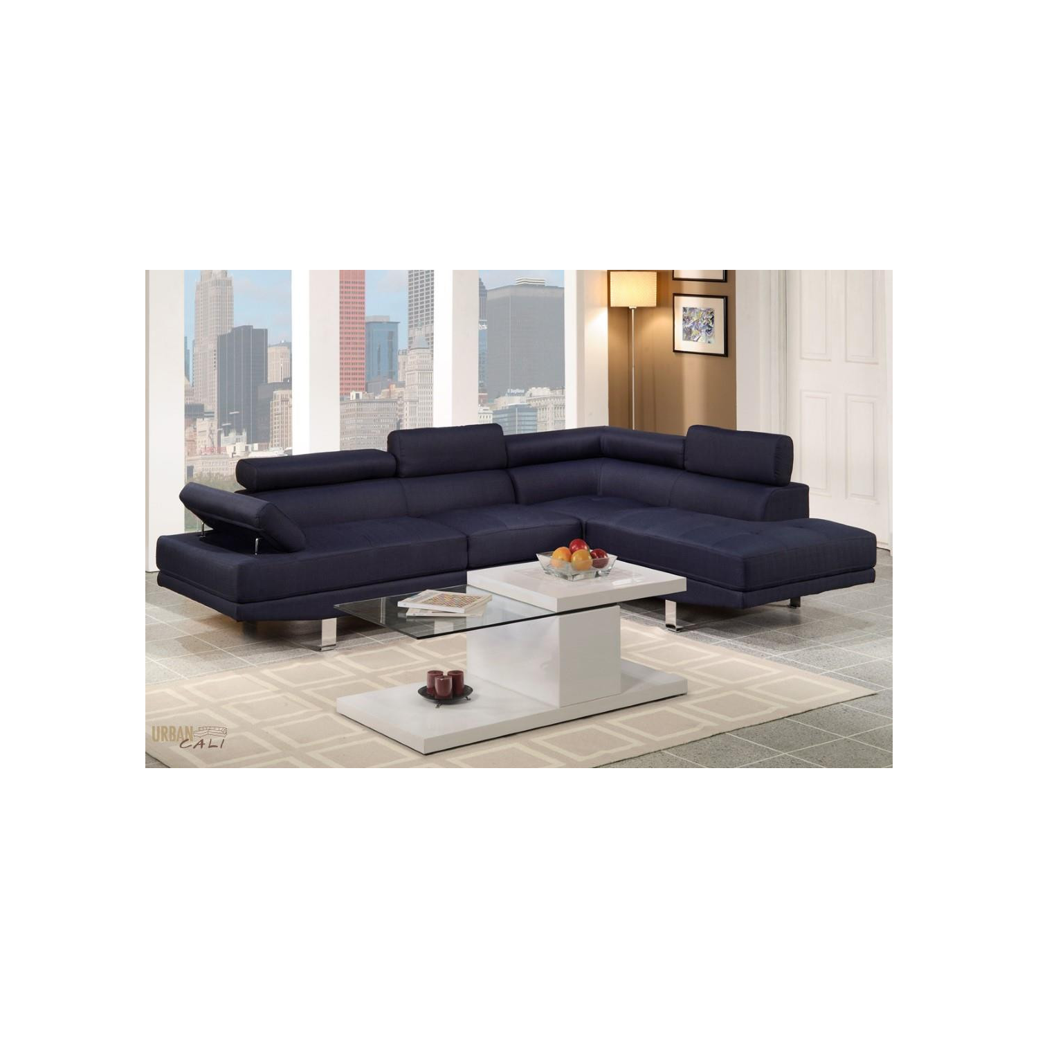 Beautiful hollywood blue linen adjustable sectional sofa for Hollywood white faux leather adjustable sectional sofa by urban cali