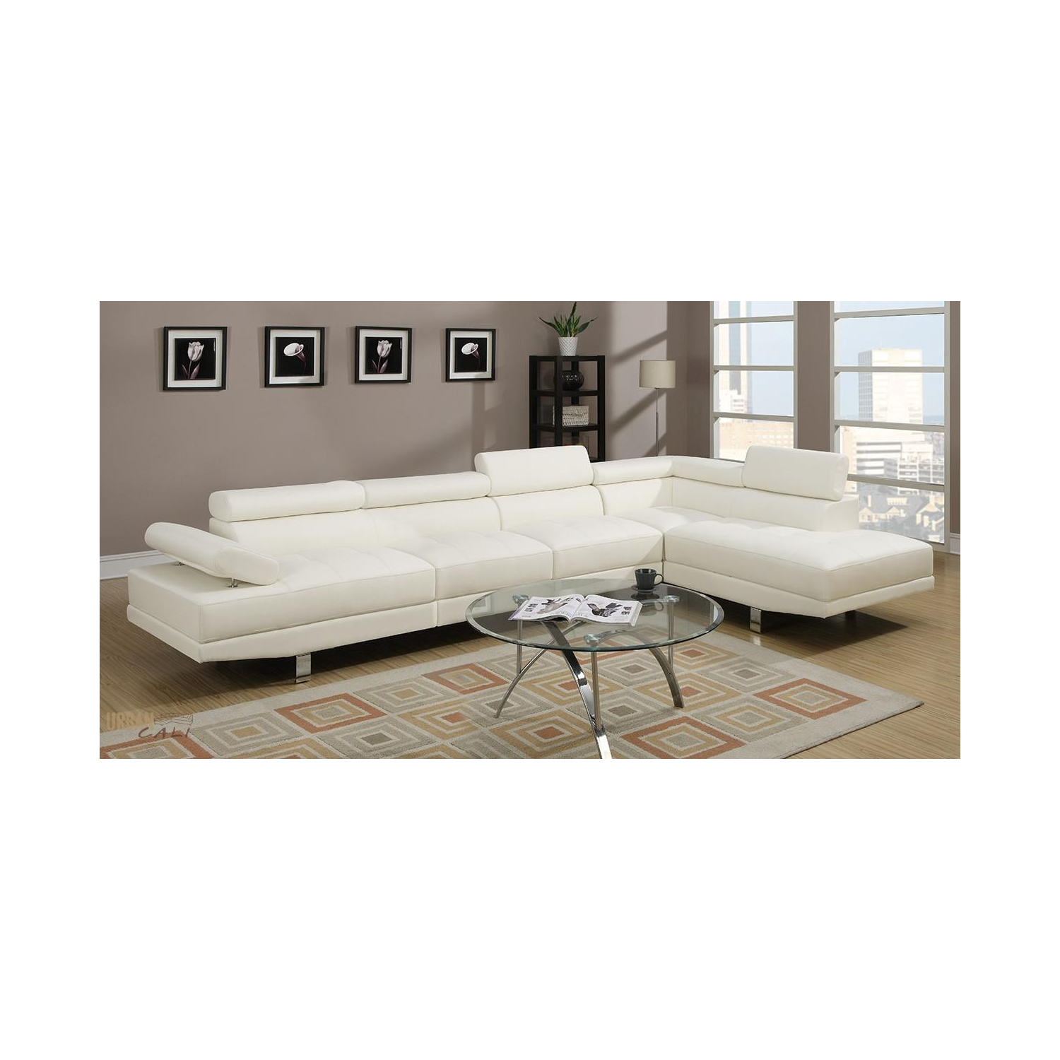 Lovely hollywood white faux leather adjustable sectional for Hollywood white faux leather adjustable sectional sofa by urban cali