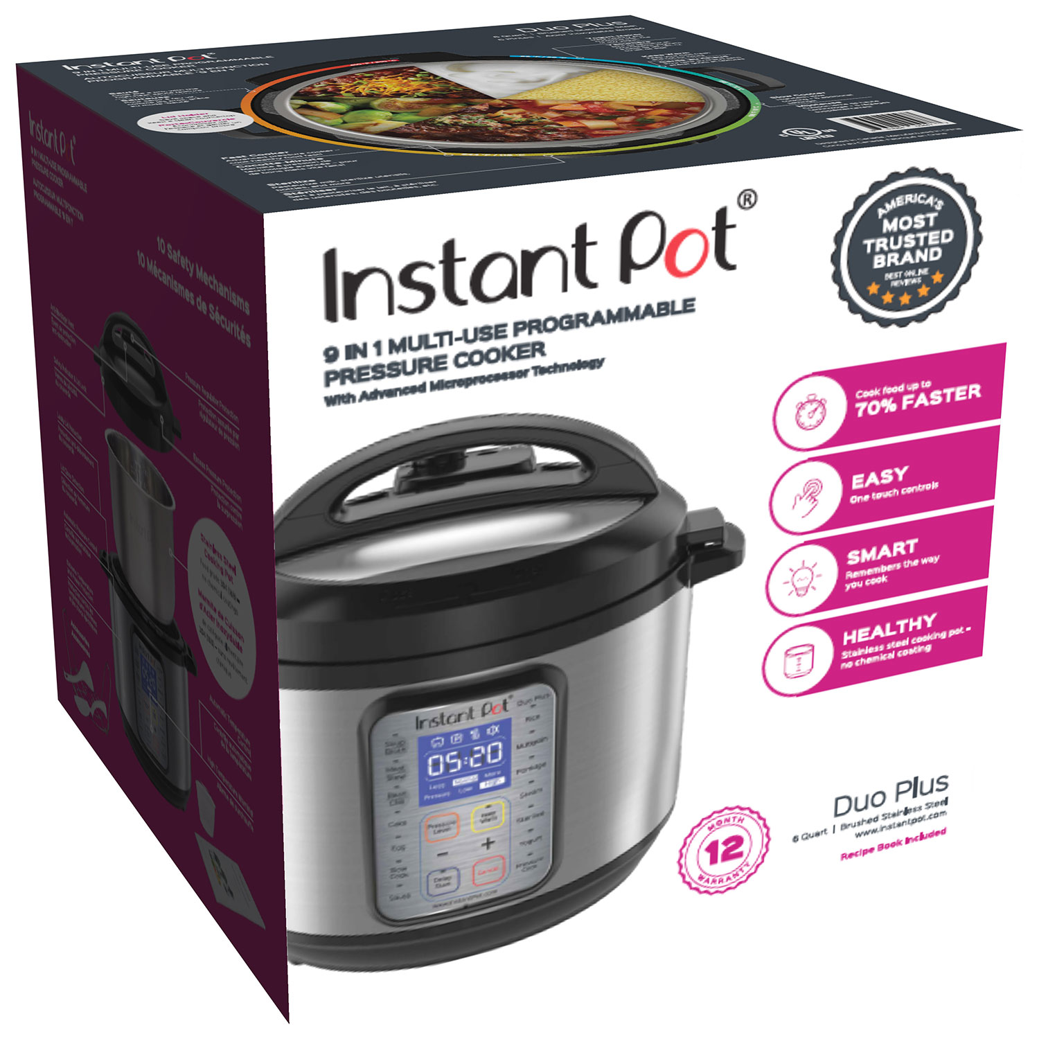 Instant Pot DUO Plus 6 Qt 9 in 1 Multi Use Programmable Pressure Cooker Slow