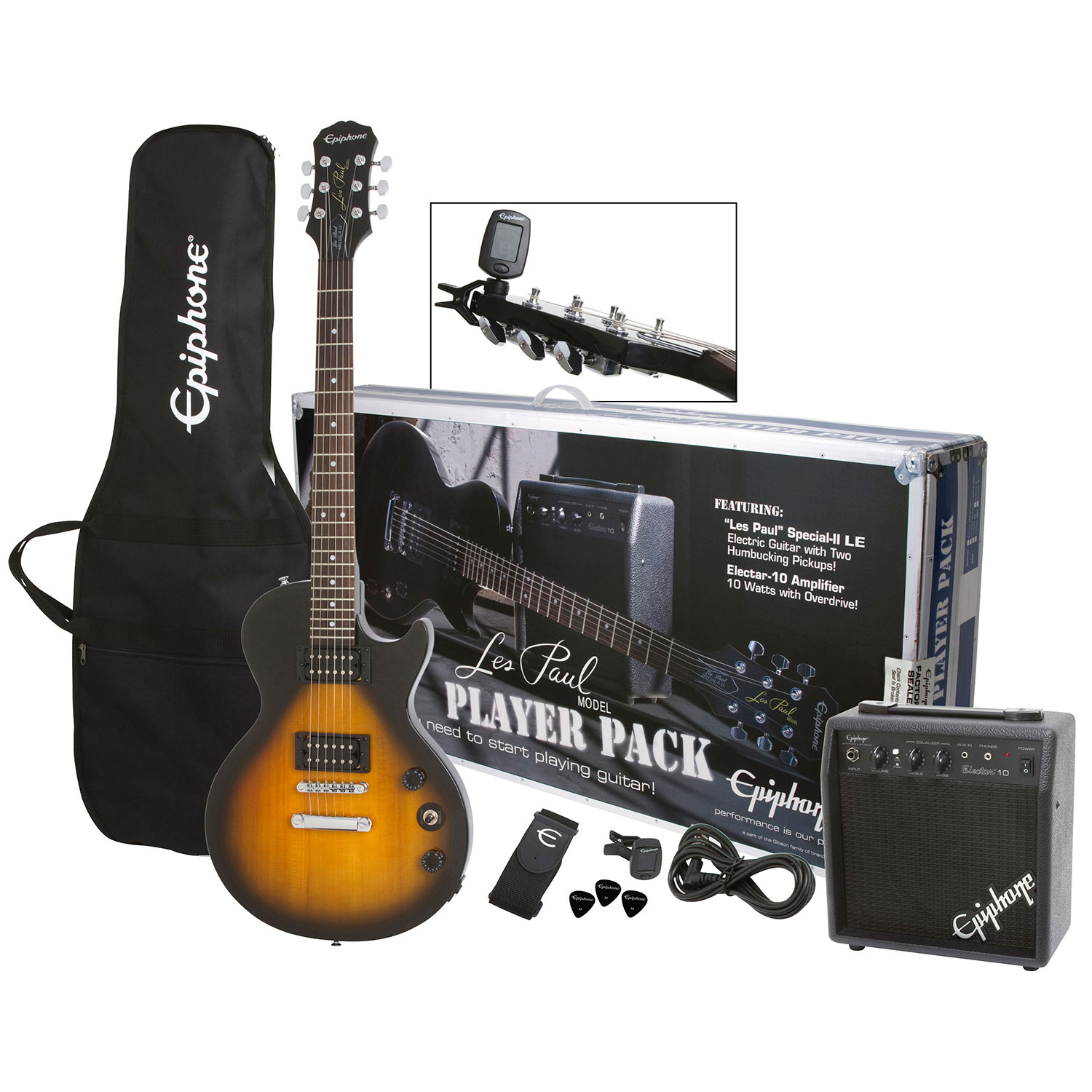 Guitar Acoustic Electric Bass Best Buy Canada Gibson Les Paul Wiring Kit High End Switch Spec Epiphone Player Pack Ppeg Egl1vsch1 Vintage Sunburst