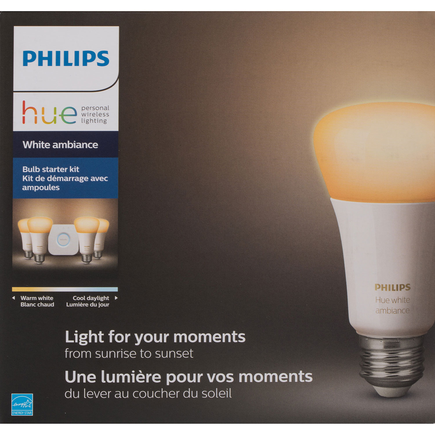 Philips Hue A19 Smart Bulb Starter Kit White Ambiance Fluorescent Lamp Lights Best Buy Canada
