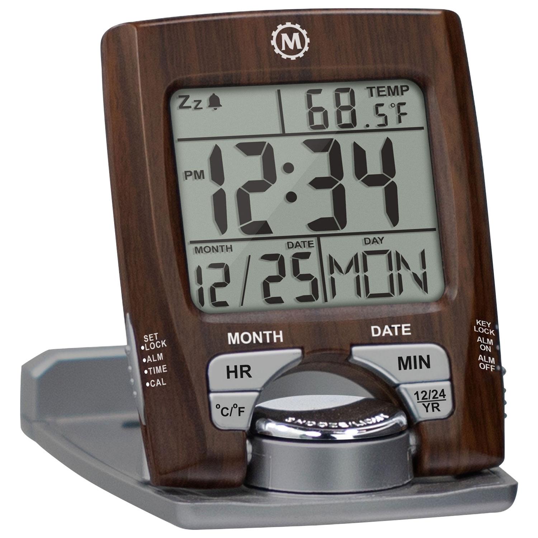 Marathon Digital Square Travel Alarm Clock - Wood