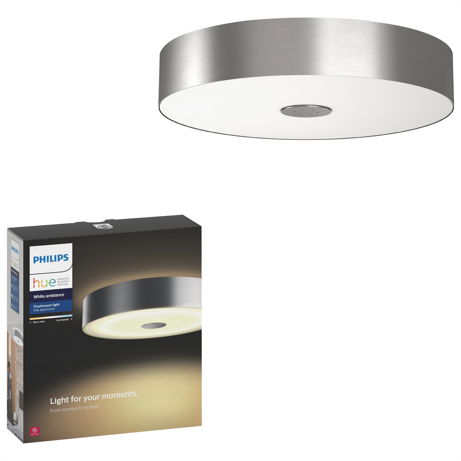 Philips Hue White Ambiance Fair Dimmable LED Smart Flushmount ...