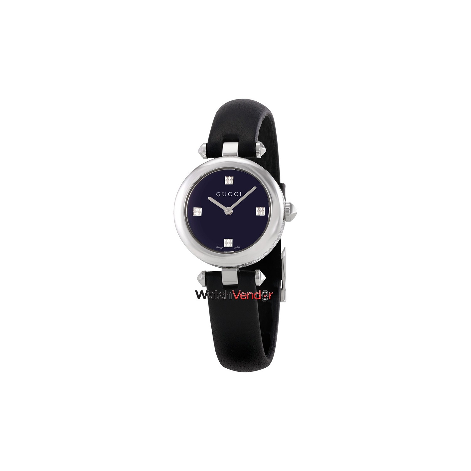 20dd801e2d8 Gucci Diamantissima Black Dial Leather Ladies Watch YA141506 - Online Only