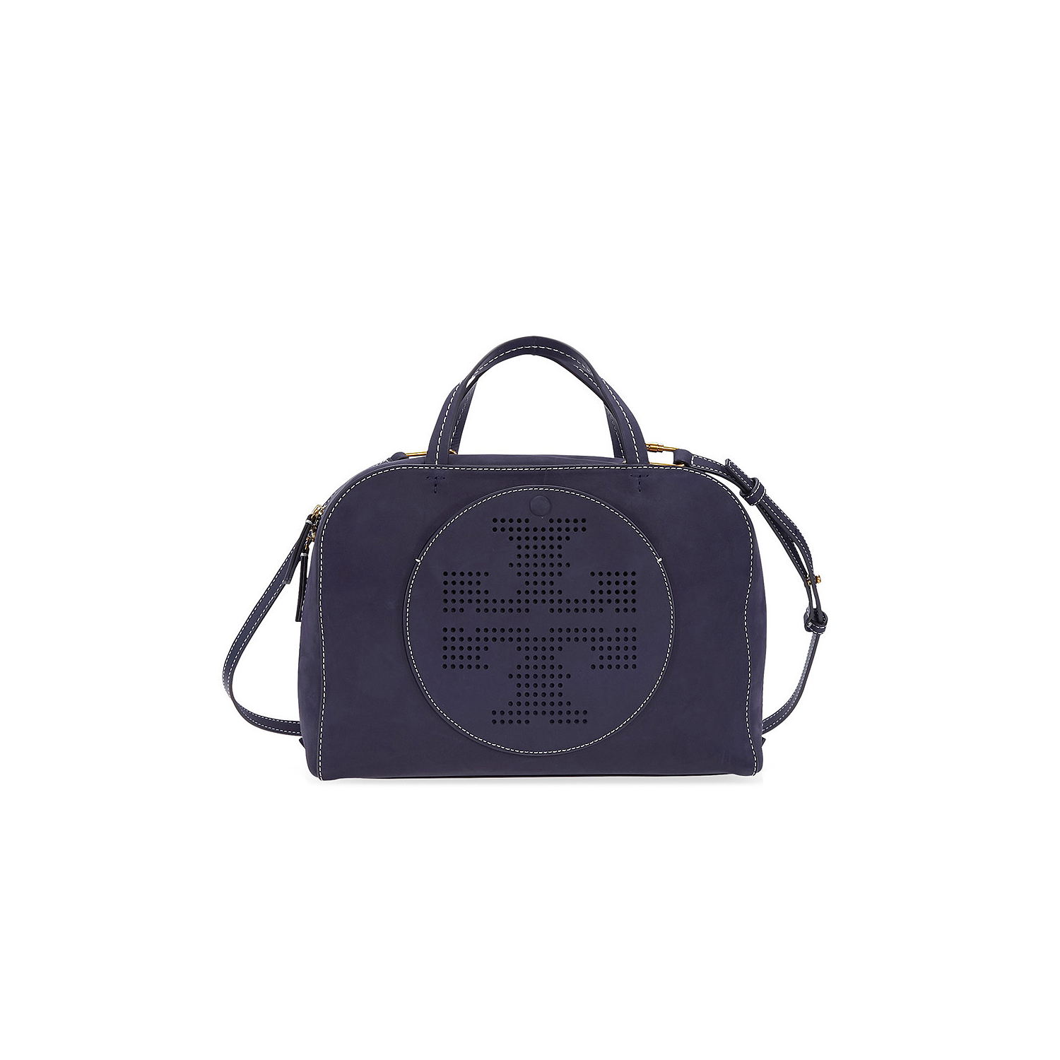abde16f26db Tory Burch Perforated-Logo Suede Satchel- Tory Navy   Satchel Bags - Best  Buy Canada