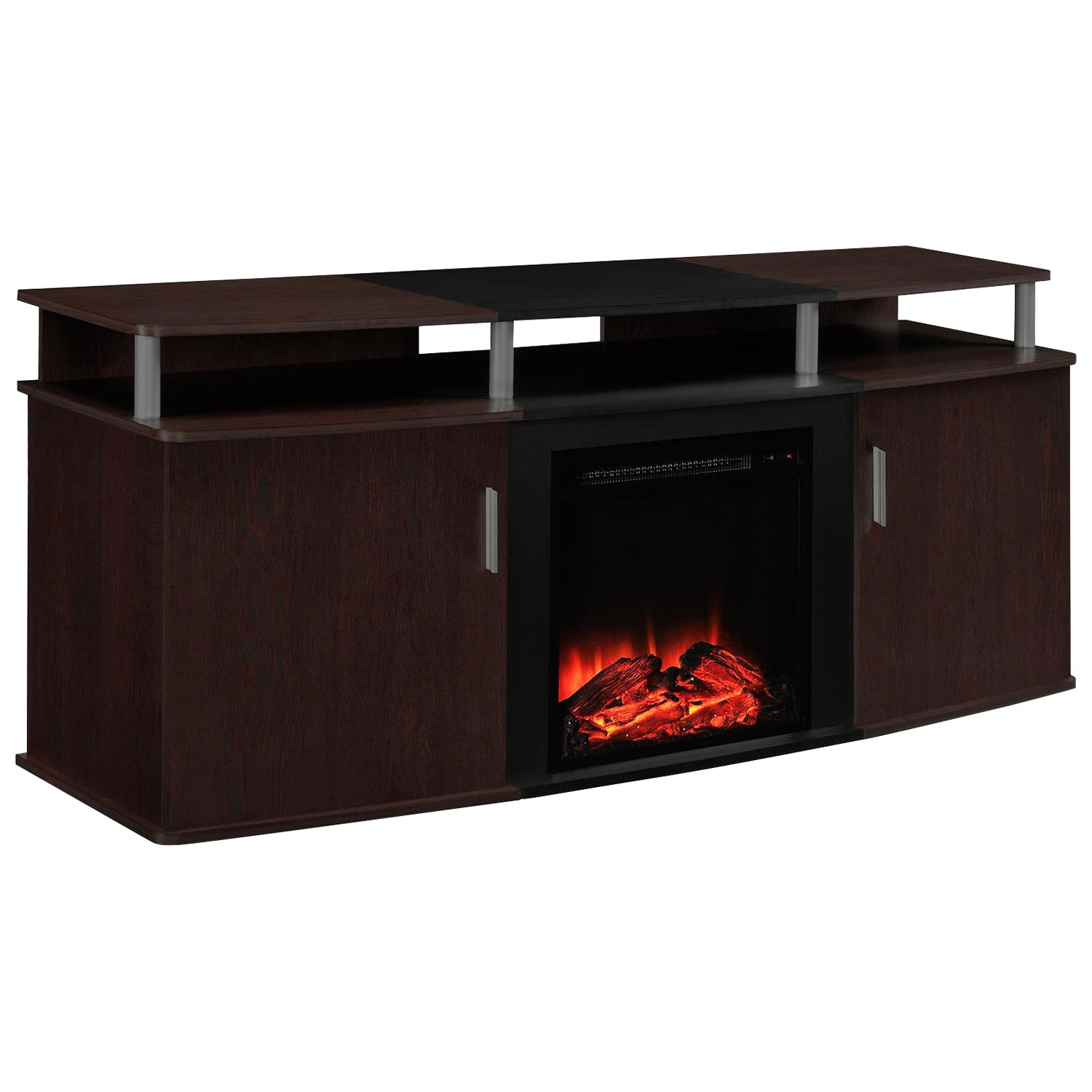 dorel manchester electric fireplace tv stand black tv stands