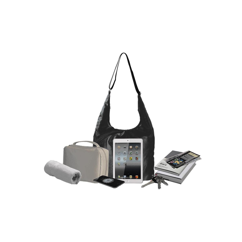 cf183e78c700 Pack n Fold Foldable Lightweight Water-resistant Hobo Bag Black   Hobo Bags  - Best Buy Canada