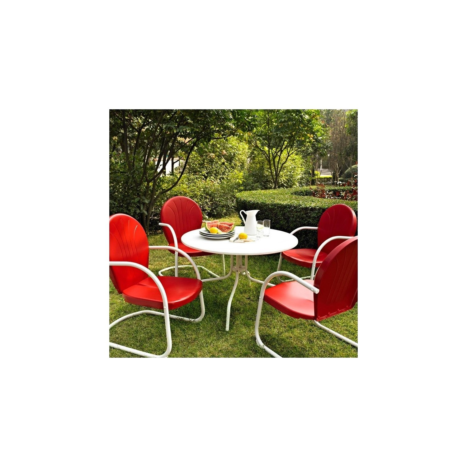 Crosley furniture griffith 5 piece metal patio dining set in red online only