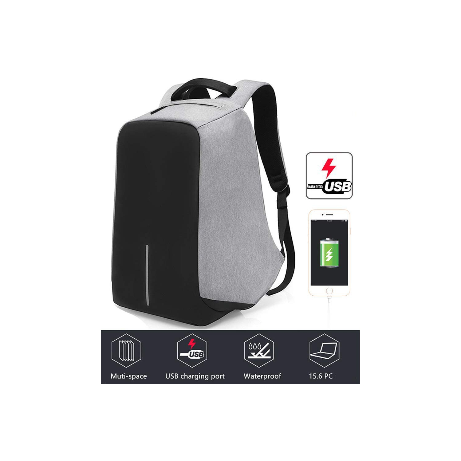 Anti-theft With USB Charging Port   Light-weight Student Functional  Business Laptop Backpack For Men   Women -Gray   Backpacks - Best Buy Canada 4ee62a7ab5