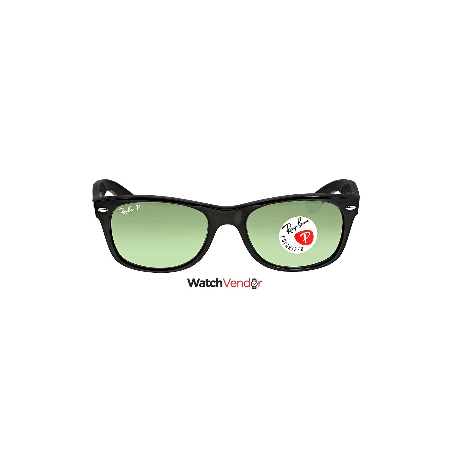 0cd6150c49 Ray-Ban New Wayfarer Polarized Black Green 52mm Sunglasses RB2132 901 58  52-18 - Online Only