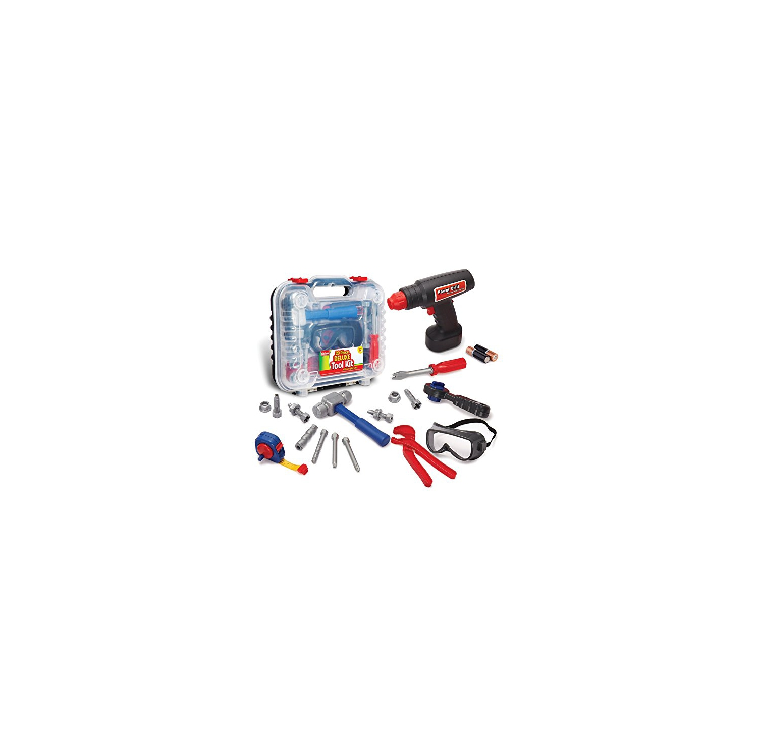 af3fc47b8c17 Durable Kids Tool Set With Electronic Cordless Drill And 18 Pretend Play  Construction Accessories