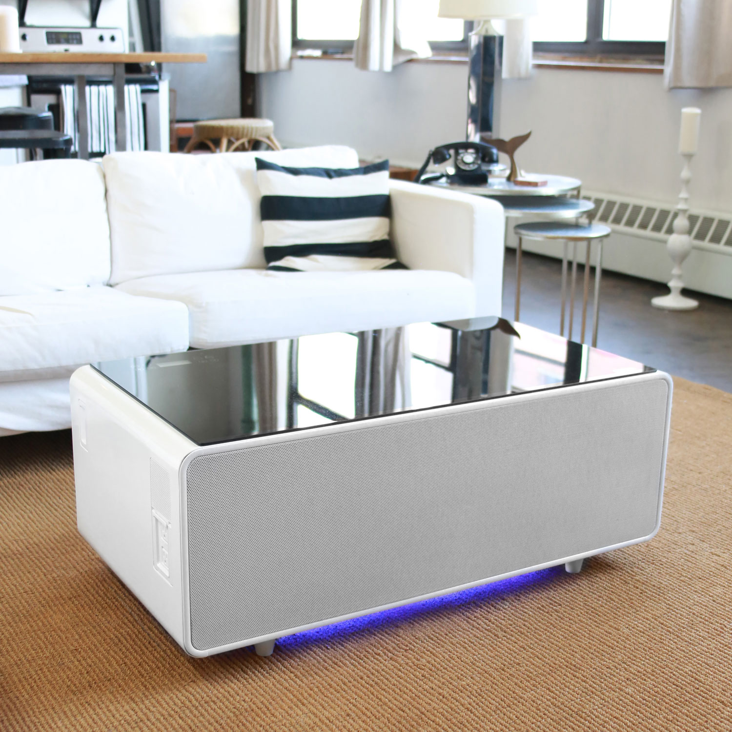 Sobro Smart Coffee Table With Refrigerated Drawer White Best Buy Canada