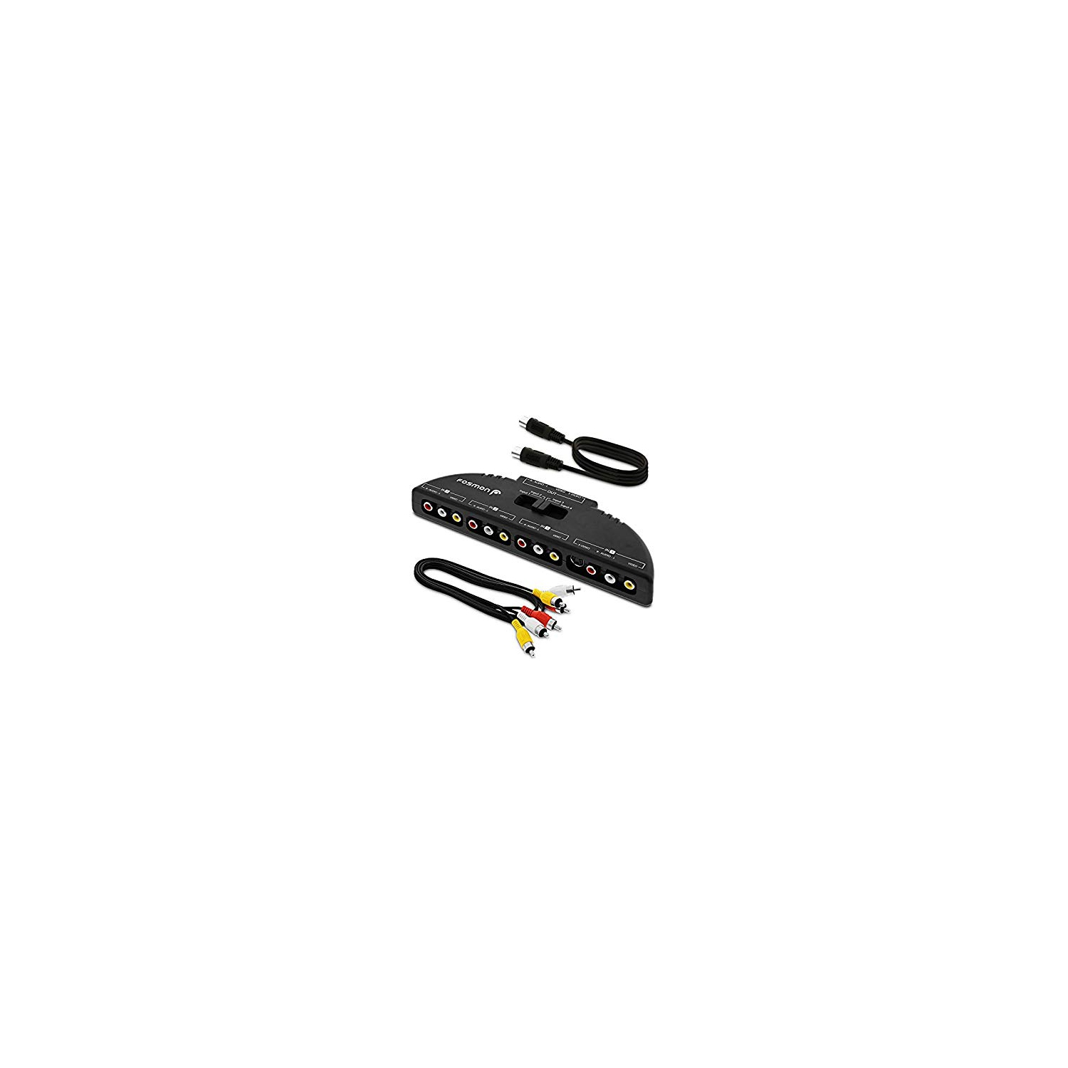 Fosmon Technology 4 Way Audio Video Rca Switch Selector Splitter Box Av Patch Cable For Connecting Output Devices To Y Cords Best Buy