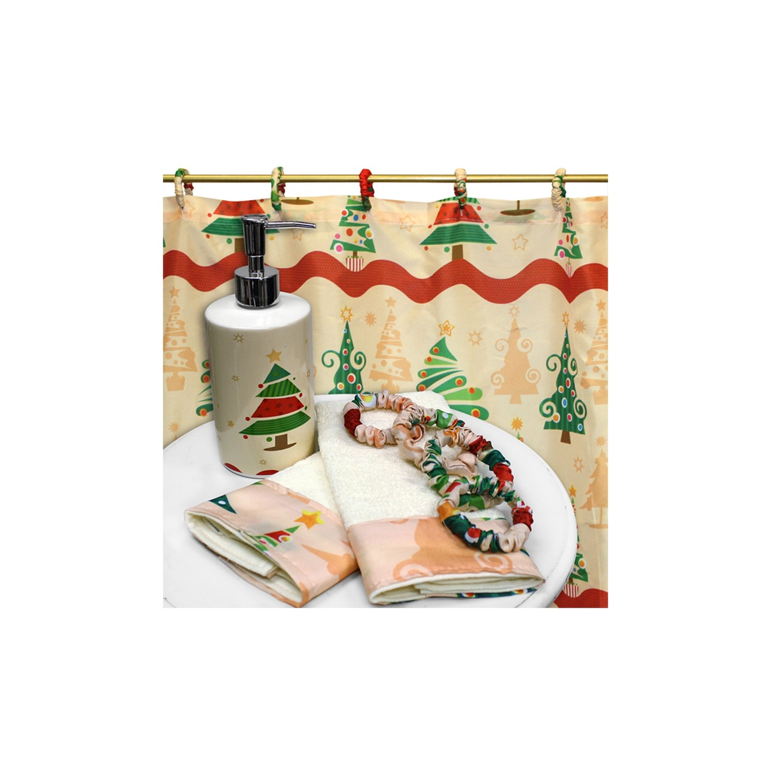 Carnation Home Fashions O Christmas Tree 16 Piece Holiday Print Bath Set Best Buy Canada