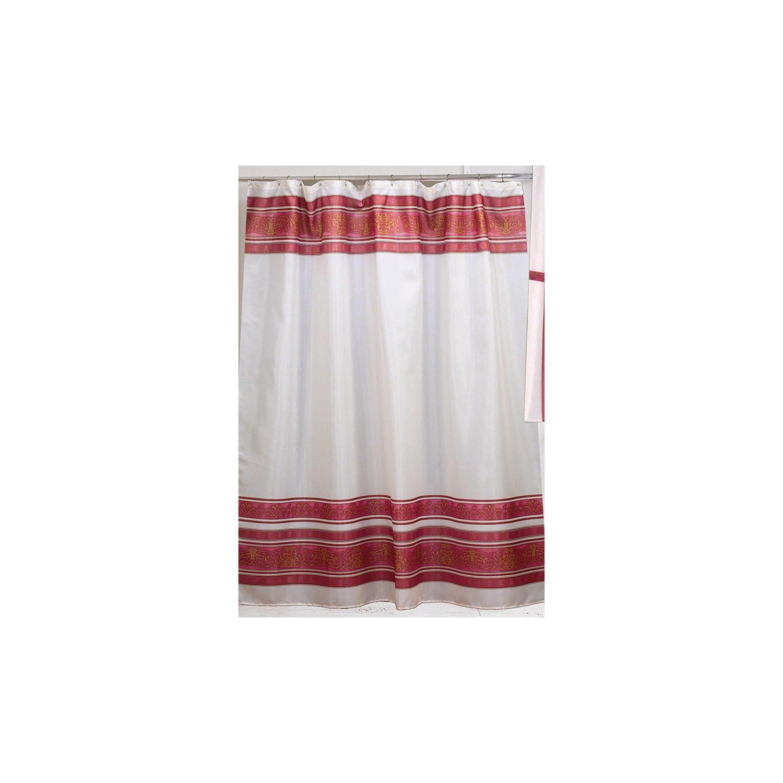 Carnation Home Fashions Fleur Polyester Fabric Shower Curtain Burgundy