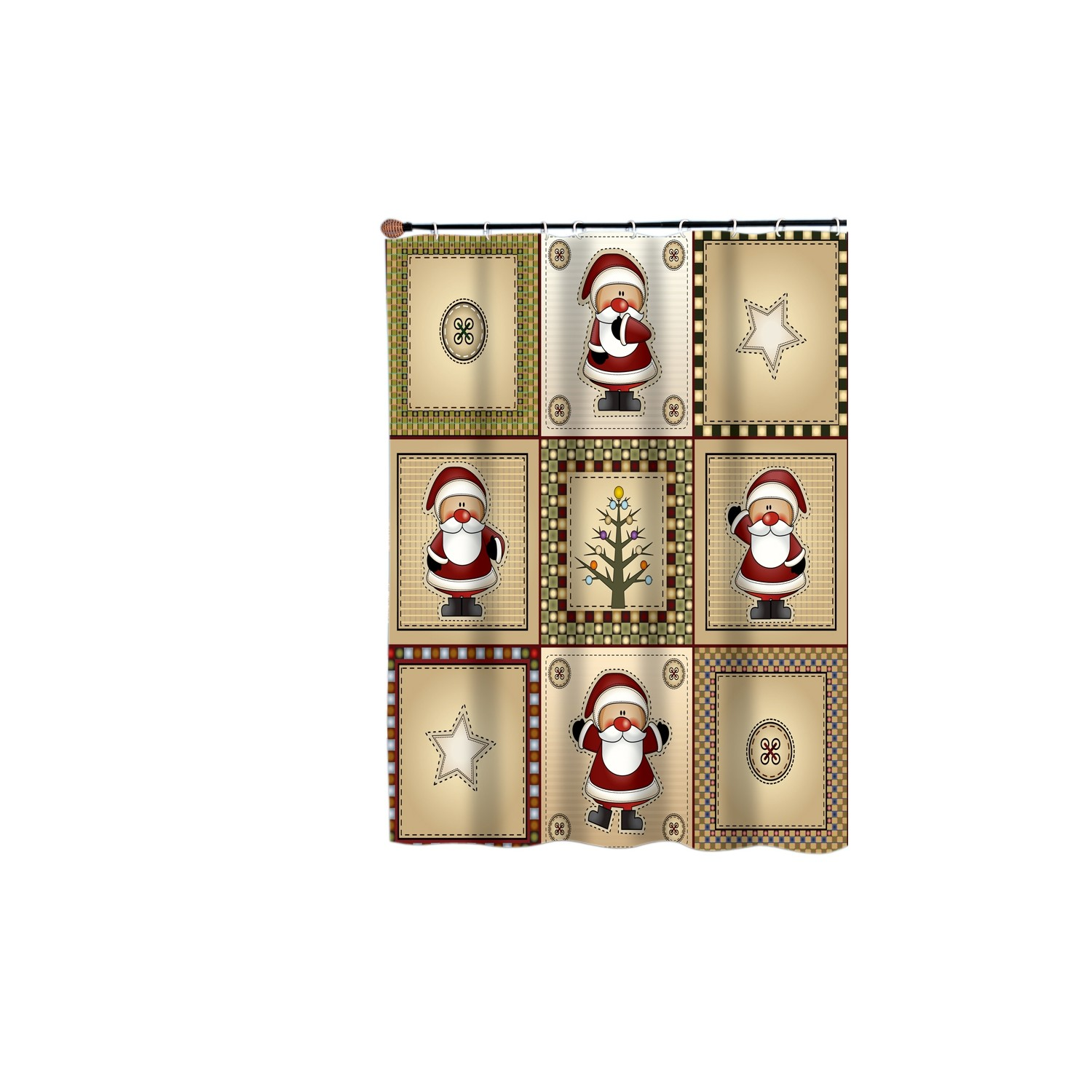 American Crafts Americana Holiday Polyester Fabric Shower Curtain