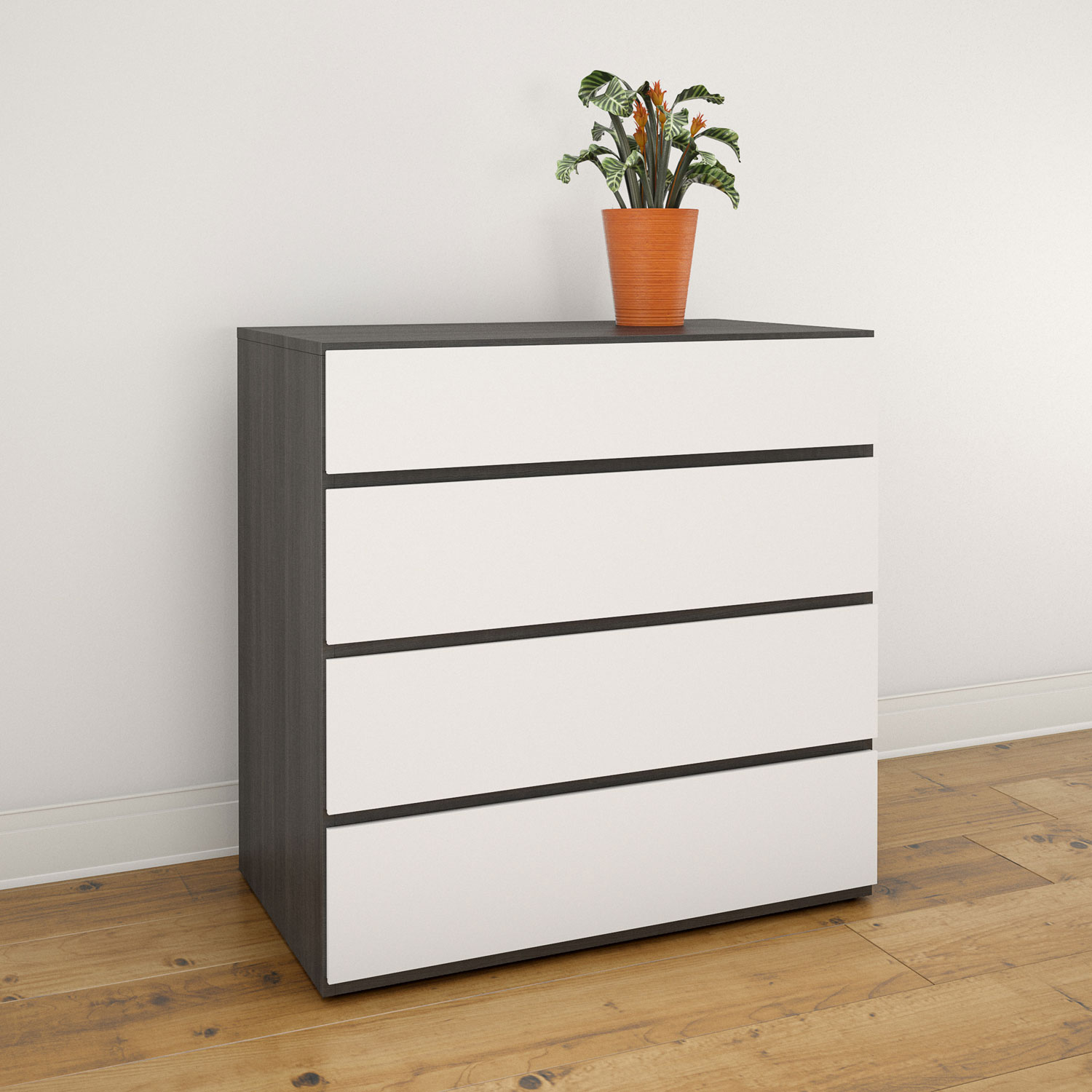 Nexera Contemporary 4 Drawer Chest White Ebony Best Buy Canada
