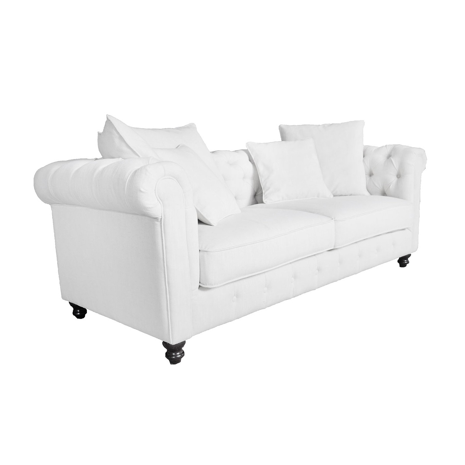 Haston 3 seater tuffted back sofa upholstered polyester linen viscose833836beige benita 01a online only