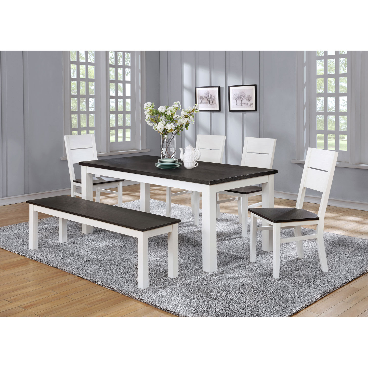 Lauren traditional 6 seating rectangular casual dining table white online only